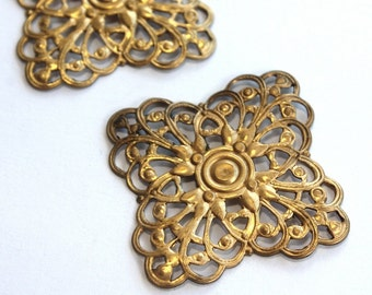 2 Art Nouveau Style Vintage Brass Stamping's  // Square // 1950s Finding // 50s 60s Craft Jewellery Supply