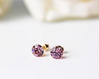 Light Purple Swarovski Crystal Stud Earrings Gold Light Amethyst Dainty Everyday Earrings