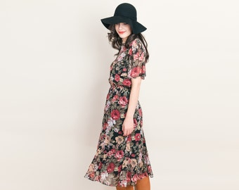 Sheer Black Floral Dress - Vintage 1980s Midi Dress with Butterfly Sleeves by Phoebe - m