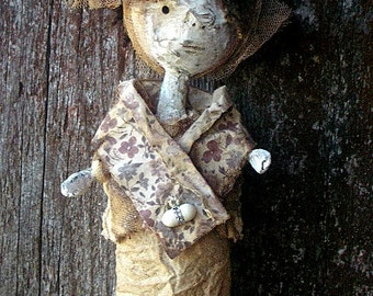 Rustic Prim Art Doll.Miss Emmie  Handmade OOAk Sculptured DollTattered Quirky Hanging Ornament.