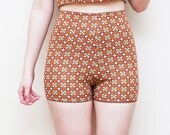 MOD Retro Orange Brown Pajama Shorts XS S M L XL