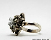 SALE - clearance - Pyrite Ring - Crushed pyrite - crystal garden ring