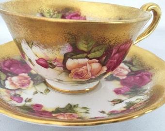 Vintage Royal Chelsea Golden Rose bone china tea cup and saucer