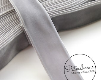 24mm Single Sided Velvet Ribbon for Millinery, Hat Trimming & Crafts 1 yard - Grey
