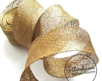 2 yards 3cm Wide Sinamay Bias Binding for Millinery Hats & Fascinators - Metallic Gold