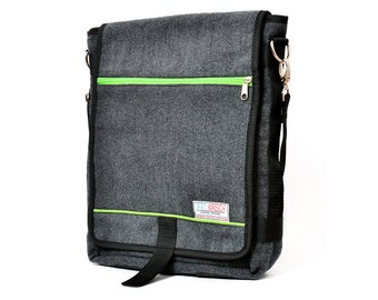 Dani, the Unisex messenger bag and backpack. Grey Wool-Polyester mix with green details and lining. Multiple pockets everyday purse