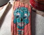 Day of the Dead Sugar Skull Dia de los muertos female girl retablo driftwood