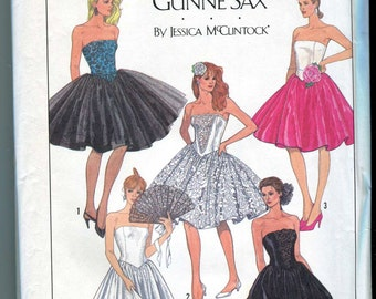 Simplicity 8534-UNCUT Gunne Sax Strapless Ball Gown or Dress Pattern By Jessica McClintock - Size 6