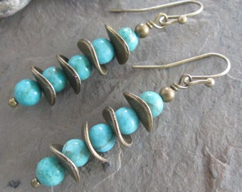 Turquoise Magnesite & Antiqued Brass Earrings ~ Bohemian style, Rustic earrings