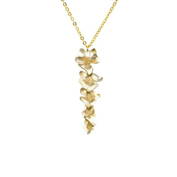 Gold Flower Necklace, Bridesmaids Gifts, Bridal Necklace, Bride Wedding Jewelry, Flower Jewelry, Womens Gift, Mother of the Bride Gifts