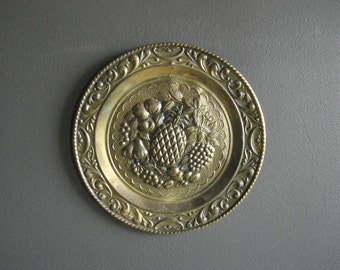 Brass Fruit - Vintage Brass Wall Art - Wall Decor Medallion - Made in England - Vintage Metal Plate