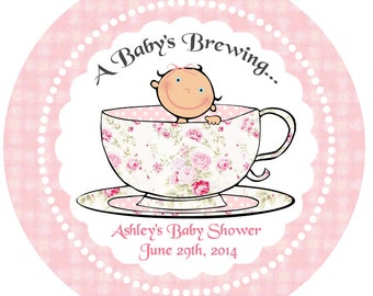 Baby Brewing Teacup Baby Shower Cupcake Toppers / Circles - DIY PRINTABLE