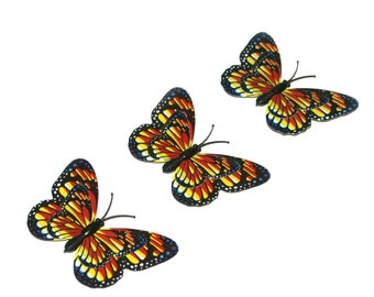 3 Yellow and Red Butterflies for Hair Pins, Favors, Hair Clips, Decor