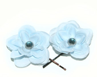 2 Baby Blue Flower Hairpins - EMBELLISHED with Crystal Brad