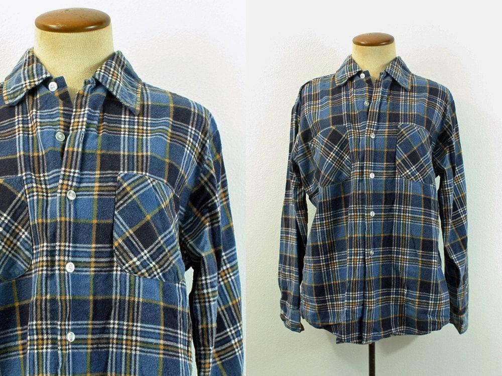 1970s Flannel Shirt Plaid Navy Blue Gold Button Down Vintage