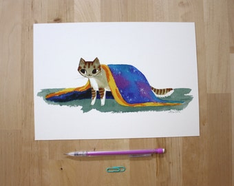 "Cat Emerging from a Blanket- 7X10"" Digital Giclee Print"