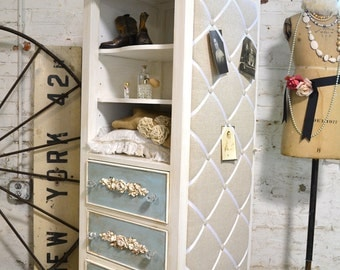Lingerie Chest Painted Cottage Chic Shabby Romantic Dreamer Chest French Armoire LGDC07
