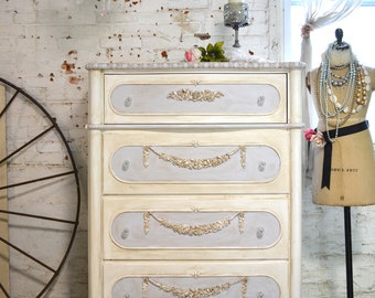 Painted Cottage Chic Shabby Romantic French Chest/Dresser SSCH20