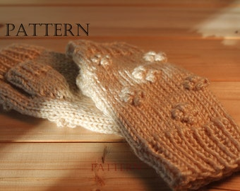 Popcorn Fingerless Mittens Knit in the Round, Pattern