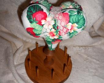 Shaker Style Wood Sewing Caddy Pin Cushion Scissor Thread Holder Strawberries