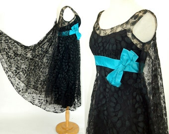 1960s dress trapeze dress tent dress swing dress black lace turquoise satin cocktail dress Size S/M