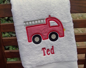 Monogrammed Kids Bath Towel with Fire Truck Applique -  perfect for the beach, bath or pool