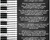 Piano Man / Billy Joel / Digital Poster / Printable / Lyrics