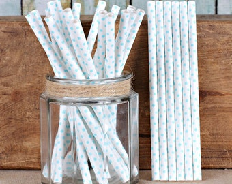 Light Blue Cake Pop Sticks, Blue Polka Dot Cake Pop Sticks, Marshmallow Pop Sticks, Wedding Cake Pop Sticks, Short Paper Straws (25)