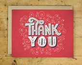 Thank You Greeting Card | Single Greeting Card | Hand Lettered | Red | A2 | Made in the USA | GC 003