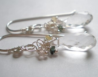 Rock Crystal Pear Briolette Earrings with Sapphire in Sterling Silver.