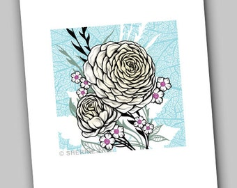 Peony Flowers, Graphic Series, Art Print, Sale