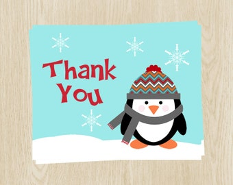 penguin baby shower birthday thank you cards boys blue red snowflakes ...