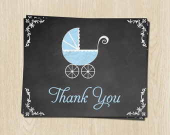 Chalkboard, Baby Shower Thank You Cards, Carriage, Boy, Blue, 24 Printed Folding Notes, FREE Shipping, CLKPL, Blackboard, Traditional