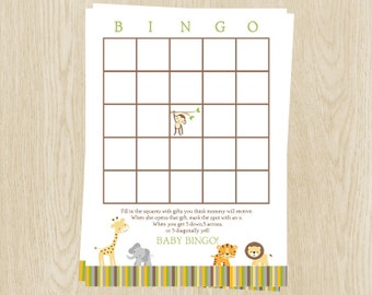 Jungle Animals Baby Shower, Baby Bingo, Green, Stripes, Set of 24 Printed Cards, FREE Ship, WWEGN, Wild With Excitement Neutral