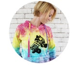 Roller Skate Hoodie, Roller Derby, Cozy Hooded Sweatshirt, Rainbow Sweat Shirt, Screen-printed With Quad Speed Skate, Roller Girl, Pullover
