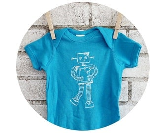 Baby Onepiece Hand Printed With A Robot, Cotton Baby Bodysuit, Bright Turquoise Blue, Electronics, Droid, Infant Clothes, Geekery, Clothing