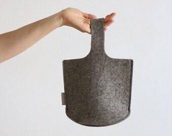 Natural Light Brown Osampo Bag / Small Wool Felt Bag / Little Girls Bag