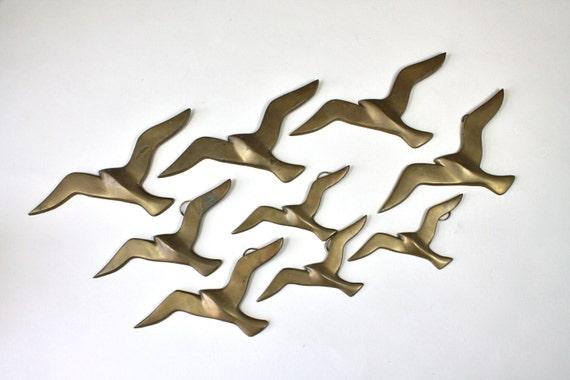 D corations murales en laiton vintage oiseau oiseau m tal - Decorations murales en metal ...