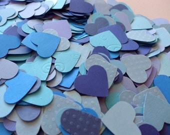 200 blue paper hearts confettis for a blue wedding or a baby boy shower - 1 inch hearts - shades of blue azure, navy, sapphire, sky, pool