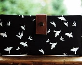 Wallet clutch womens   Bi fold wallet handmade clutch black with white birds