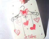 French Valentine Mobile Gift Tags , Set of 6 , Je  T''aime Tags , Love Tags , Pink Heart Tags , Romantic Tags