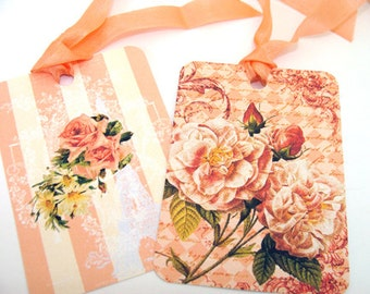 Peach Flower Tags -  Set of 8 - Garden Tags - Gift Tags - Floral Tags - Cottage Chic  - Peach Flowers - Thank Yous -  Flower Tags -