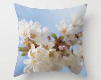 Pillow cover, white pear blossoms photo pillow, pear tree flowers throw pillow, white blue pillow, white flowers pillow, living room decor
