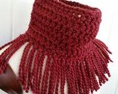 Tassel Scarf *  Cowl * Neckwarmer in a Warm Cozy Wool Blend in Burgundy Marsala by Tejidos on Etsy * Fits M to XL