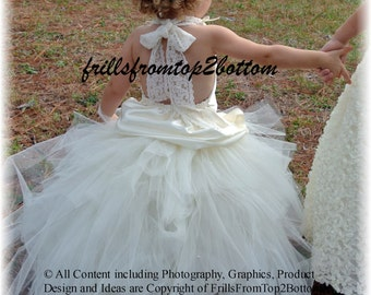 Ivory Flower Girl Dress . Tutu Skirt . Satin Halter Top w/ Lace straps . Sizes 12mo - 5T