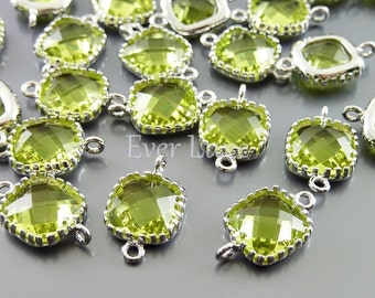 2 apple green square glass connectors, glass beads stones, jewelry making craft supplies 5055R-AG