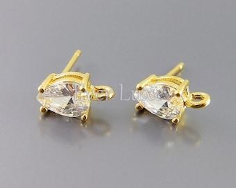 2 small CZ / Cubic Zirconia teardrop stud earrings, earring making, bridal / wedding earrings 1019-BG (bright gold, 2 pieces)