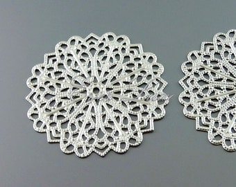 2 round floral filigree pendants, brass metal findings, filigree pendants, jewelry charms, craft supplies 1056-MR (matte silver, 2 pieces)
