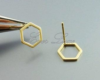 4 honeycomb / hexagon shape 10mm stud earrings, earrings, earring making, heart jewelry,  jewelry supplies 1074-MG-10 (matte gold, 4 pieces)