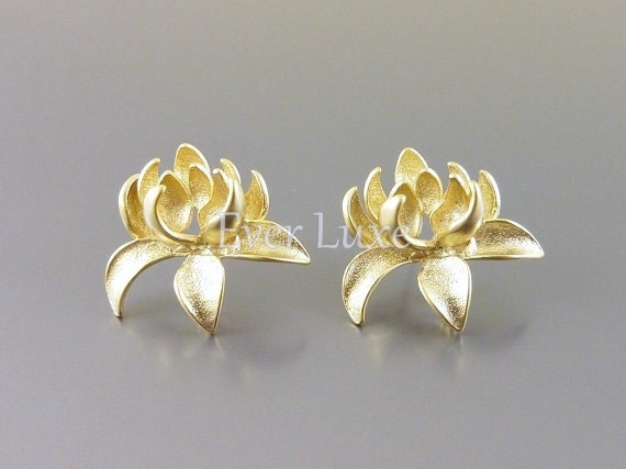 2 lotus flower post earrings matte gold stud earring